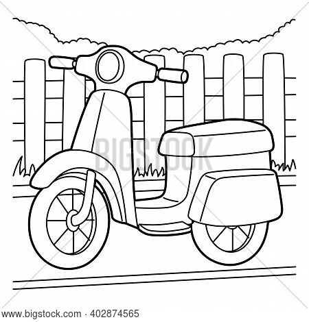 Cute And Funny Coloring Page Of A Scooter. Provides Hours Of Coloring Fun For Children. To Color Thi