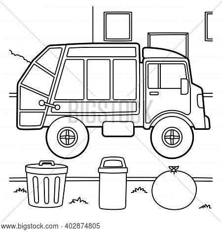 Cute And Funny Coloring Page Of A Garbage Truck. Provides Hours Of Coloring Fun For Children. To Col