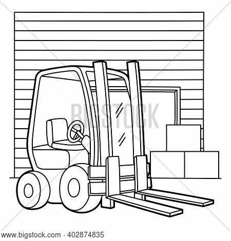 Cute And Funny Coloring Page Of A Forklift. Provides Hours Of Coloring Fun For Children. To Color Th