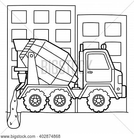 Cute And Funny Coloring Page Of A Concrete Mixer. Provides Hours Of Coloring Fun For Children. To Co
