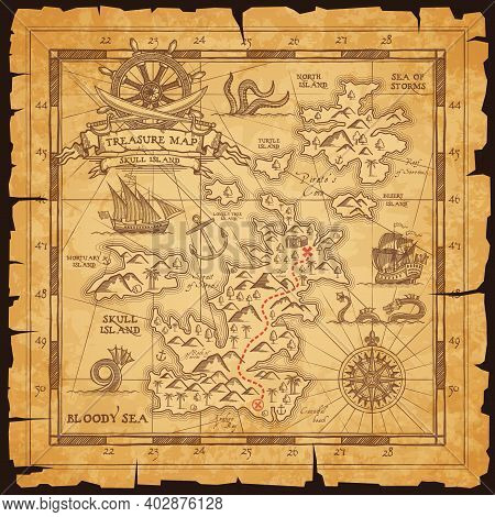 Old Pirate Map, Vector Worn Parchment With Treasure Location, Sea, Islands And Land, Wind Rose And C
