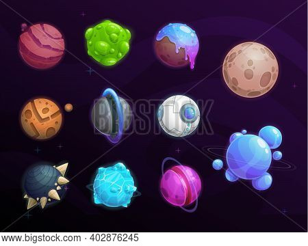 Planets Of Fantasy Space Cartoon Vector Set, Game Ui, Gui Or User Interface Design. Galaxy Universe