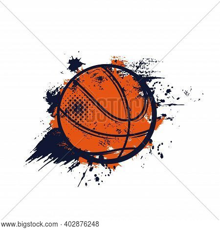 Basketball Ball, Sport Streetball Banner Or Emblem Of Club Or Team League, Vector. Basketball Champi