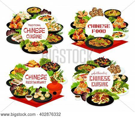 Chinese Cuisine Vector Meals Mussels With Black Beans And Red Pepper. Chow Mein, Cashew Chicken And