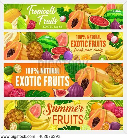 Fresh Fruits Bannners. Vector Cartoon Pineapple, Banana Or Grapes, Pomegranate, Pear Or Durian, Wate