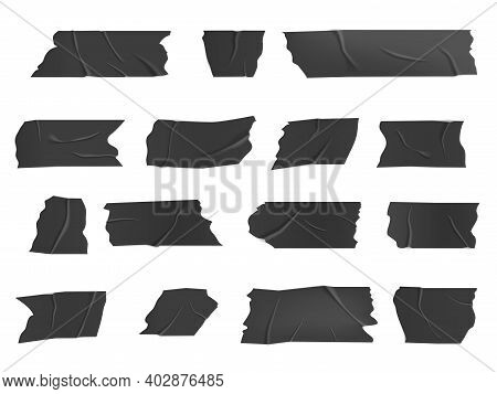 Duct Tape, Isolated Vector Black Adhesive Wrinkled Scotch Stripes, Glued Sticky Tape Pieces For Fix,