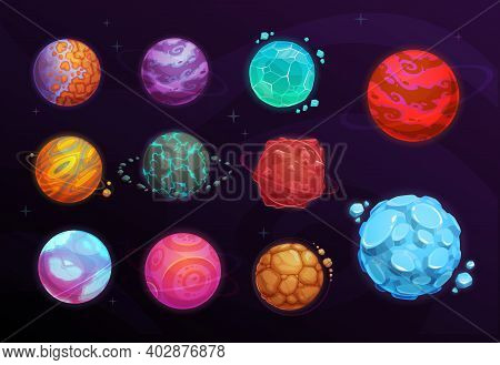 Planets Of Space Games Cartoon Set Of Vector Fantasy Alien Galaxy Universe Design. Planets With Orbi