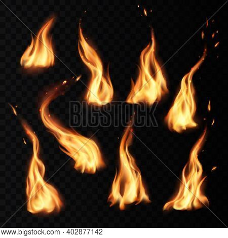 Fire Flames Burning Realistic Icons With Sparks Isolated On Vector Transparent Background. Campfire