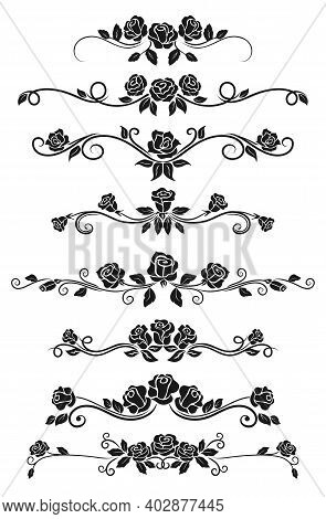 Dividers And Frame Border Lines Vector Design With Black Rose Flowers. Floral Ornament And Ornate Pa