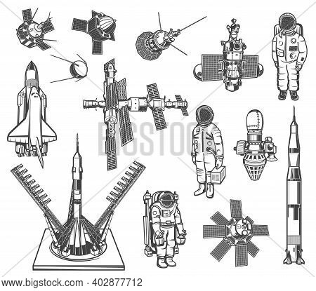 Space Exploration Vector Icons Astronaut, Rocket And Satellite With Galaxy Station. Cosmos Explore S