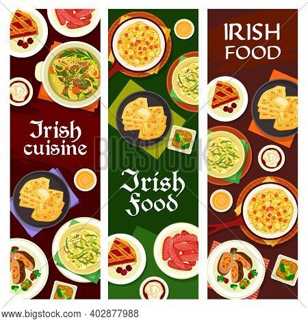 Irish Cuisine Vector Pork Sausages, Cherry Pie, Vegetable Stuffed Beef, Broccoli Pudding And Fish So