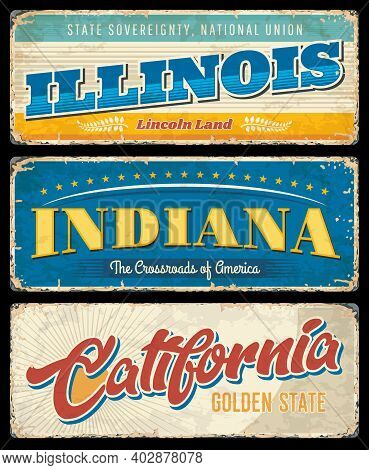 American States, Illinois, Indiana And California Vintage Vector Banners, Signs For Travel Destinati