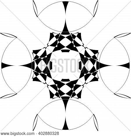Intersected Trajectory Negative Space Arabesque Sphere Illusion Abstract Background Black On Transpa