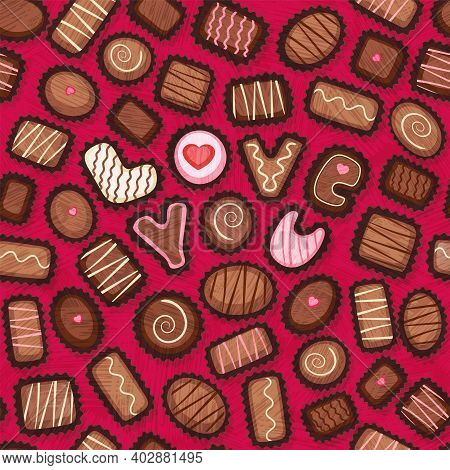 Seamless Pattern Of Valentines Day Candy. Fancy Chocolate Bonbons With Love You Message. Decorated C
