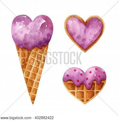 Valentine's Day Watercolor Set With Heart Shaped Desserts. Berry Ice Cream In A Waffle Cone, Waffle