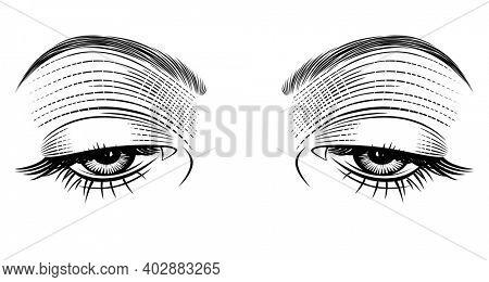 Female eyes looking down. Vintage engraving stylized drawing