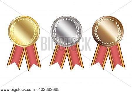 Blank Medals With Ribbons For Game Design. First Place Trophy. Game Golden, Silver, Bronze Medal. St