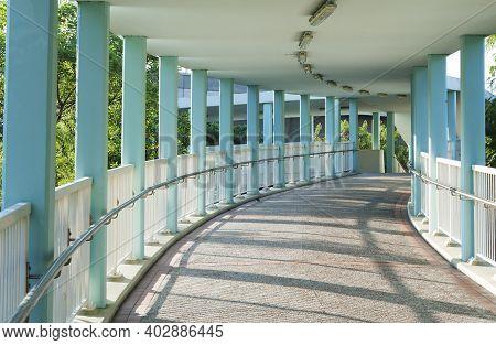 Empty Modern Pedestrian Walkway In Downtown District