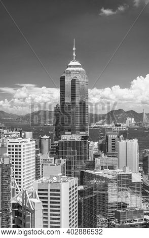 Aerial View Of Downtown Of Hong Kong City