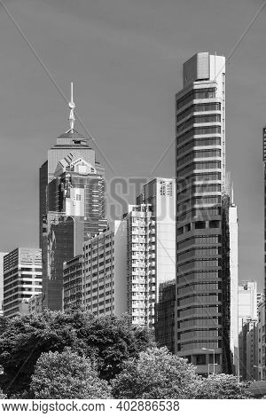 High Rise Office Building In Downtown Of Hong Kong City