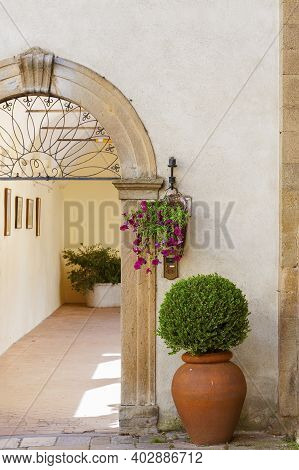 Entrance Of Classic Residential House In Tuscany, Italy