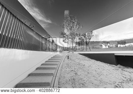 Exterior Of Modern Architecture Black And White
