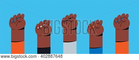 Feminist Fists, Protest And Revolution, Feminist Fight, Vector Cartoon Flat Hands. Feminist Activist
