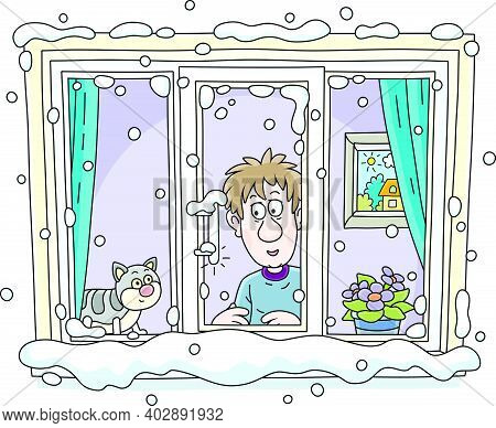 Funny Young Man With His Cat Going To Walk And Looking Out Of A Snowy Window With A Thermometer On A