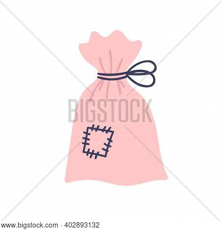 Cute Pink Bag With Witchcraft Herbs On A White Background. Attributes For Magic, Witchcraft. Love Po