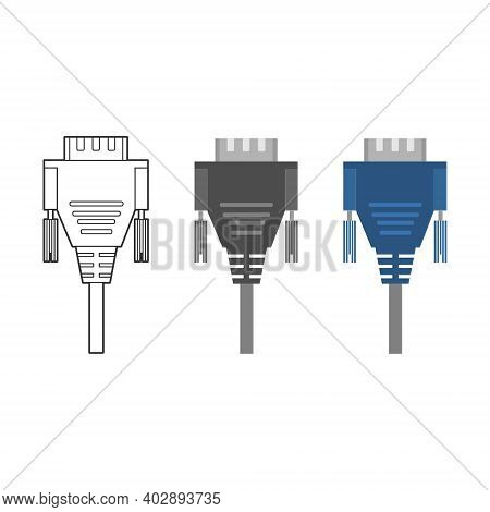 Various Electronic Wire Connectors And Inputs, Jacks And Plugs Vector Icon Set