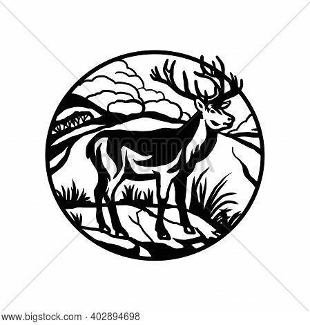 Male Deer - Forest Landscape, Wildlife Stencils - Forest Silhouette, Wildlife Clipart, Vector Design