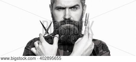 Mens Haircut In Barber Shop. Barber Scissors And Straight Razor, Barber Shop. Mens Haircut, Shaving.