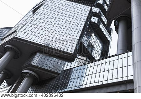 Hong Kong - July 11, 2017: Modern Architecture Fragment. Exterior Of Lippo Centre Towers Previously
