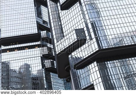 Hong Kong - July 11, 2017: Modern Architecture, Fragment Of Lippo Centre Towers Previously Known As