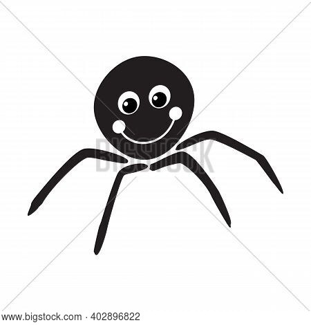 Spider Icon. Black Silhouette Of Spider. Insect Icon Isolated. Spider Logo In Flat Style