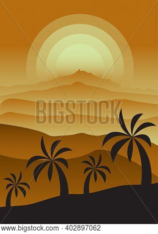 Monochrome Foggy Sunset Landscape With Desert And Palm Trees. Gradients In Shades Of Gold. Vertical