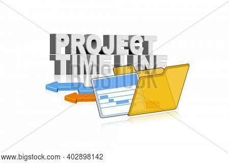 3d illustration of project time line concept