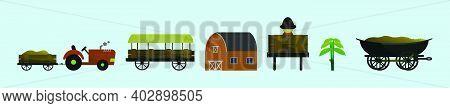 Set Of Farmer Man Barn Cartoon Icon Design Template With Various Models. Modern Vector Illustration