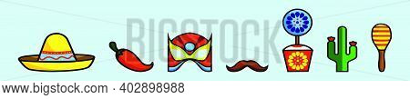 Set Of Cinco De Mayo Cartoon Icon Design Template With Various Models. Modern Vector Illustration Is
