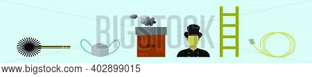 Set Of Chimney Sweep Cartoon Icon Design Template With Various Models. Modern Vector Illustration Is
