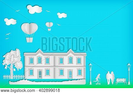 House, Tree, People, Street Lamp, Hot Air Balloon And Clouds On Blue Sky Background. Urban Landscape
