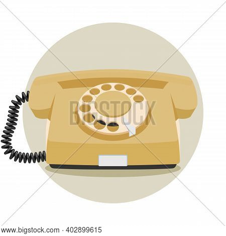 Old Rotary Telephone Icon, Vintage Wired Phone Handset, Retro Phone. Vector Illustration