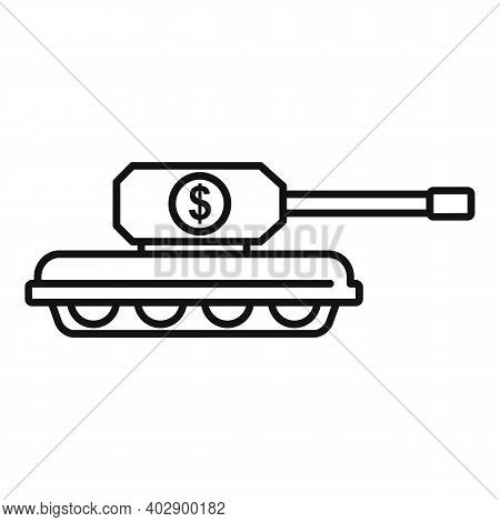 Trade War Usa Tank Icon. Outline Trade War Usa Tank Vector Icon For Web Design Isolated On White Bac
