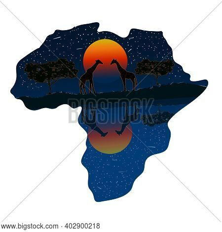 Africa Continent With Sunset And Wild Animals Silhouettes Isolated On White Background. Africa Day.