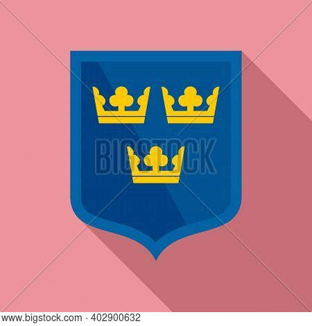 Swedish Shield Icon. Flat Illustration Of Swedish Shield Vector Icon For Web Design