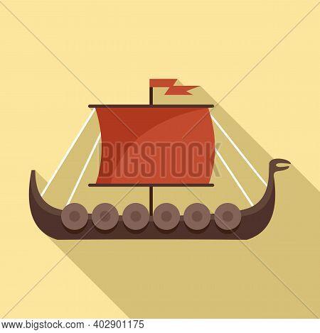 Viking Ship Icon. Flat Illustration Of Viking Ship Vector Icon For Web Design
