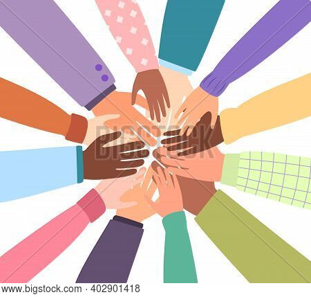 United Community Of The World. Different Nationalities Together For Teamwork, Unity Or Diversity. Ve