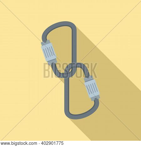 Industrial Climber Carabines Icon. Flat Illustration Of Industrial Climber Carabines Vector Icon For