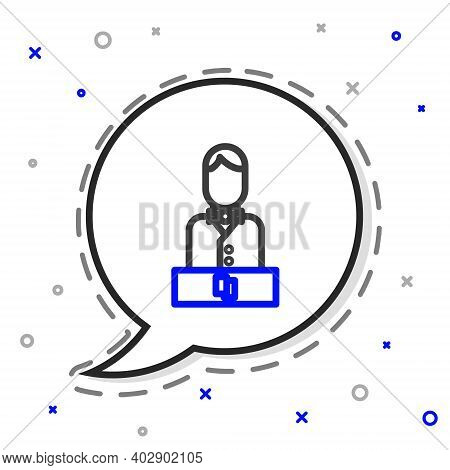 Line Casino Dealer Icon Isolated On White Background. Casino Croupier. Colorful Outline Concept. Vec