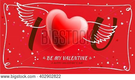 Valentines Day Poster. I Love You. Romantic Composition With Winged Heart. Celebration Posters, Webs